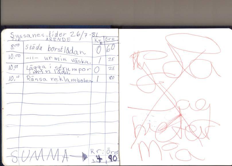 """En dagbok var visst inte bara en dagbok på den tiden. Här leker jag någon sorts affär..?  """"Rensa reklamboken""""?! haha, måste varit ngt jag hört. """"Jag heter Mia""""... Ja det var inte alltid kul att heta Ofelia när man var 7 år. Då ville jag helst heta Mia, Maria eller Lotta typ. ;)"""