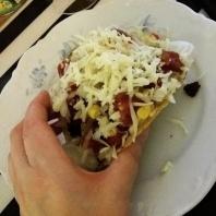 Åt tacos.