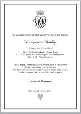 Prinsparets Bröllop 2015 - Inbjudan