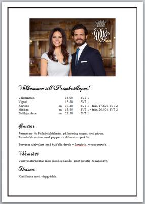 Prinsparets Bröllop 2015 - Program o meny