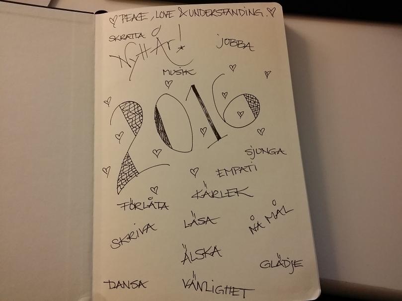 Fick en anteckningsbok av K innan jul, som jag tänkte göra till min dagbok/anteckningsbok/scrapbook för 2016. ♥